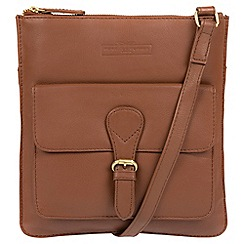 Pure Luxuries London - Tan 'Inverness' soft cowhide leather cross-body bag