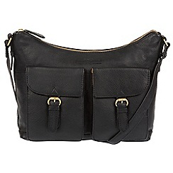 Pure Luxuries London - Black 'Bute' soft cowhide leather cross-body hobo bag