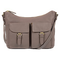 Pure Luxuries London - Grey 'Bute' soft cowhide leather cross-body hobo bag