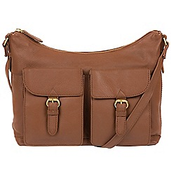 Pure Luxuries London - Tan 'Bute' soft cowhide leather cross-body hobo bag