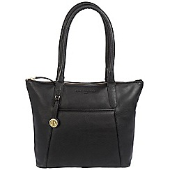 Pure Luxuries London - Black 'Alnwick' leather handbag with gold-coloured detailing
