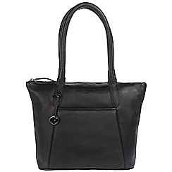 Pure Luxuries London - Black 'Alnwick' leather handbag with platinum-coloured detailing