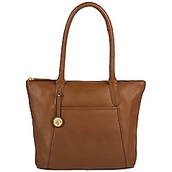 Pure Luxuries London - Tan 'Alnwick' leather handbag with gold-coloured detailing