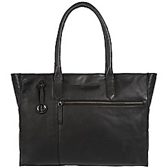Pure Luxuries London - Black 'Bexley' leather handbag with platinum-coloured detailing