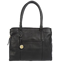Pure Luxuries London - Black 'Cheadle' leather handbag with gold-coloured detailing