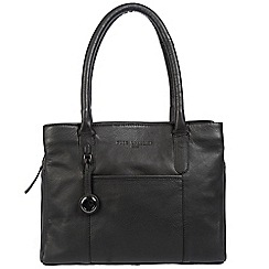 Pure Luxuries London - Black 'Cheadle' leather handbag with platinum-coloured detailing