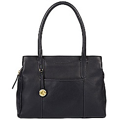 Pure Luxuries London - Navy 'Cheadle' leather handbag with gold-coloured detailing