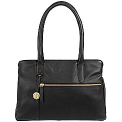 Pure Luxuries London - Black 'Darley' leather handbag with gold-coloured detailing