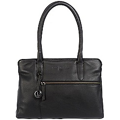 Pure Luxuries London - Black 'Darley' leather handbag with platinum-coloured detailing