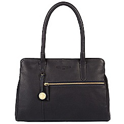 Pure Luxuries London - Navy 'Darley' leather handbag with gold-coloured detailing
