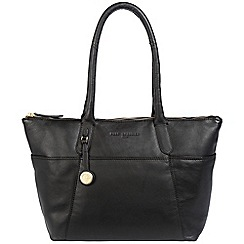 Pure Luxuries London - Black 'Eton' leather handbag with gold-coloured detailing