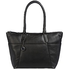 Pure Luxuries London - Black 'Eton' leather handbag with platinum-coloured detailing