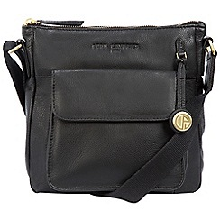Pure Luxuries London - Black 'Fleet' leather bag with gold-coloured detailing