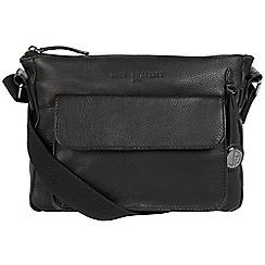 Pure Luxuries London - Black 'Guildford' small leather bag with platinum-coloured detailing