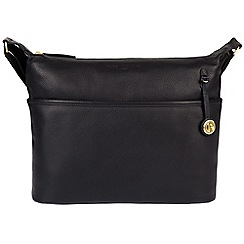Pure Luxuries London - Navy 'Helmsley' leather bag with gold-coloured detailing