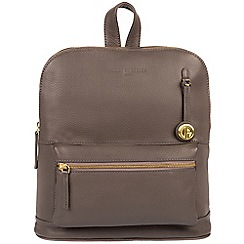 Pure Luxuries London - Grey 'Ingleby' leather backpack with gold-coloured detailing