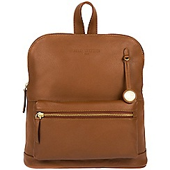 Pure Luxuries London - Tan 'Ingleby' leather backpack with gold-coloured detailing