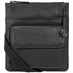 Pure Luxuries London - Black 'Jarrow' leather bag with platinum-coloured detailing