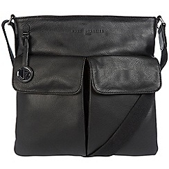 Pure Luxuries London - Black 'Alice' leather bag with platinum-coloured detailing