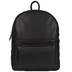 Pure Luxuries London - Black 'James' real leather backpack