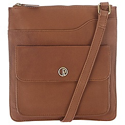 Pure Luxuries London - Two-tone dark tan 'Weybridge' natural leather handbag