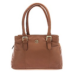 Pure Luxuries London - Two-tone dark tan 'Ripley' natural leather handbag