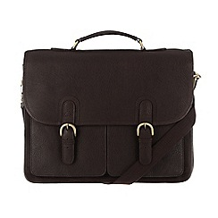 Pure Luxuries London - Dark brown 'Herdley' leather briefcase