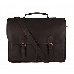Pure Luxuries London - Brown 'Herdley' natural leather briefcase