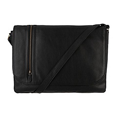 Pure Luxuries London - Black 'Ben' natural leather messenger bag