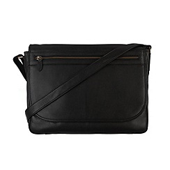 Pure Luxuries London - Black 'Matt' natural leather messenger bag