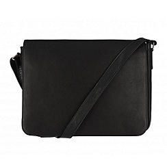 Pure Luxuries London - Black 'Dan' natural leather messenger bag