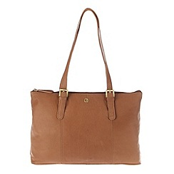 Pure Luxuries London - Dark tan 'Oxford' finest natural leather handbag