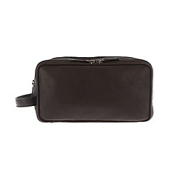 Pure Luxuries London - Brown 'Sam' finest natural leather wash bag