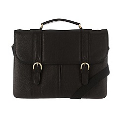 Pure Luxuries London - Black 'Terence' finest natural leather briefcase