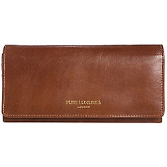 Pure Luxuries London - Pecan brown 'Lina' natural leather RFID purse