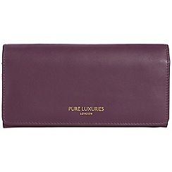 Pure Luxuries London - Plum purple 'Lina' natural leather RFID purse