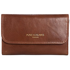 Pure Luxuries London - Pecan brown 'Windsor' natural leather RFID purse