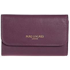 Pure Luxuries London - Plum purple 'Windsor' natural leather RFID purse