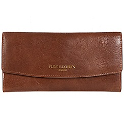 Pure Luxuries London - Pecan brown 'Perth' natural leather RFID purse