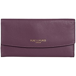 Pure Luxuries London - Plum purple 'Perth' natural leather RFID purse