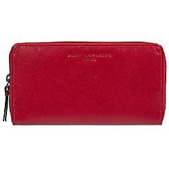 Pure Luxuries London - Red 'Ophelia' round-zip RFID leather purse