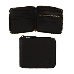 Pure Luxuries London - Black 'Flint' fine natural leather zip-round wallet