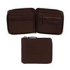 Pure Luxuries London - Brown 'Flint' fine natural leather zip-round wallet