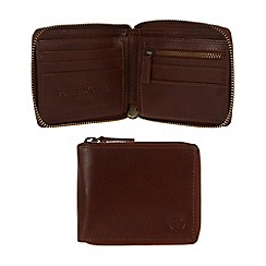 Pure Luxuries London - Italian style tan 'Flint' fine natural leather zip-round wallet