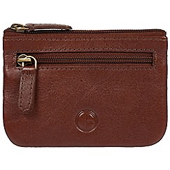 Pure Luxuries London - Brown 'Garrison' vegetable-tanned leather coin pouch