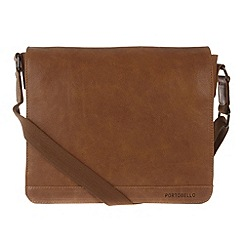 Portobello W11 - Pecan 'Blake' rugged leather small messenger bag
