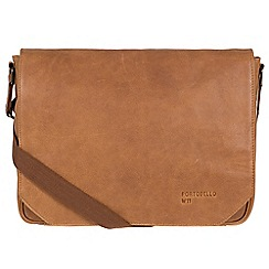 Portobello W11 - Pecan 'Keon' buffalo leather messenger bag