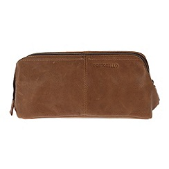 Portobello W11 - Pecan 'Brook' rugged leather wash bag