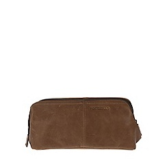 Portobello W11 - Walnut 'Brook' rugged leather wash bag