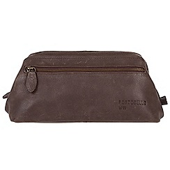 Portobello W11 - Hickory 'Beck' buffalo leather wash bag